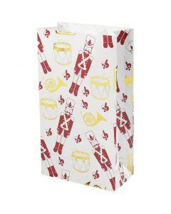 Papirpose, nøtteknekker, H: 21 cm, str. 6x12 cm, gull, rød, hvit, 8 stk./ 1 pk.
