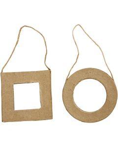 Rammer, kvadratisk og rund, str. 7 cm, 6 stk./ 1 pk.