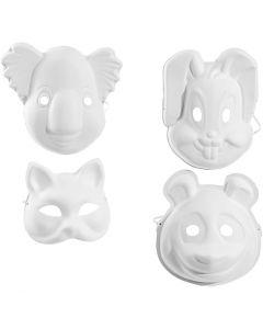 Masker, H: 17-25 cm, B: 18-24 cm, hvit, 4x3 stk./ 1 pk.