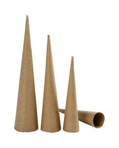Høye kjegler, H: 20-25-30 cm, dia. 4-5-6 cm, 3 stk./ 1 pk.