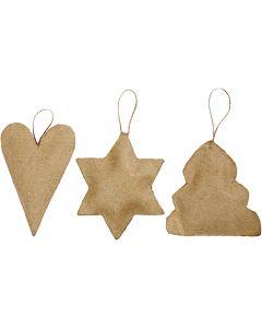 Juleoppheng, hjerte, stjerne og juletre, str. 8-9 cm, 9 stk./ 1 pk.