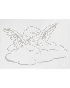 Stensil, engel på sky, A4, 210x297 mm, 1 stk.