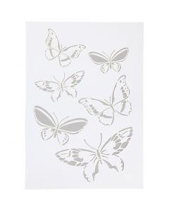Stensil, sommerfugl, A4, 210x297 mm, 1 stk.