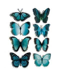 3D Stickers, sommerfugl, str. 20-35 mm, blå, 8 stk./ 1 pk.