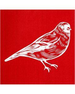 Screen stensil, fugl, 20x22 cm, 1 ark
