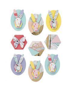 3D Stickers, kaniner, H: 30-45 mm, B: 32-35 mm, 9 stk./ 1 pk.