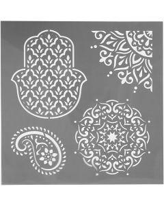 Stensil, etniske motiver, str. 30,5x30,5 cm, tykkelse 0,31 mm, 1 ark