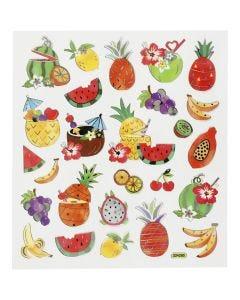 Stickers, eksotisk frukt, 15x16,5 cm, 1 ark