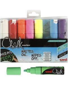 Chalk Marker, strek 8 mm, ass. farger, 8 stk./ 1 pk.