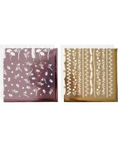 Dekorasjonsfolie og design limark, 15x15 cm, 2x2 ark/ 1 pk.