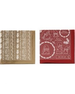 Dekorasjonsfolie og design limark, Tradisjonell jul, 15x15 cm, gull, rød, 2x2 ark/ 1 pk.