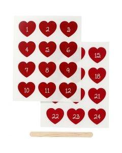 Rub on merkelapper, kalendertall, H: 32 mm, B: 28 mm, 12,2x15,3 cm, rød, 1 pk.