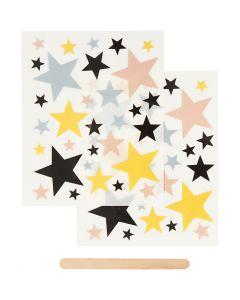 Rub on merkelapper, stjerner, 12,2x15,3 cm, 1 pk.