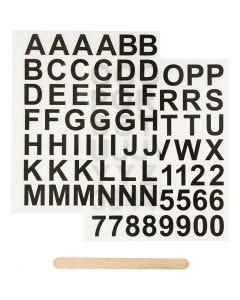 Rub on merkelapper, bokstaver og tall, H: 17 mm, 12,2x15,3 cm, svart, 1 pk.