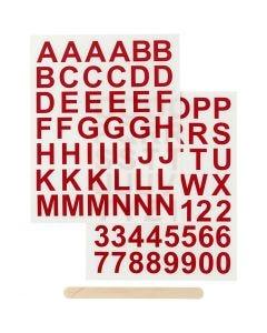 Rub on merkelapper, bokstaver og tall, H: 17 mm, 12,2x15,3 cm, rød, 1 pk.