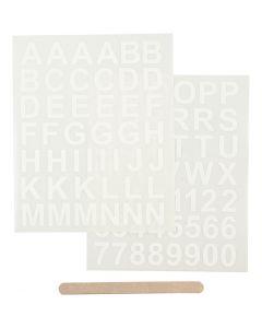 Rub on merkelapper, bokstaver og tall, 12,2x15,3 cm, hvit, 1 pk.