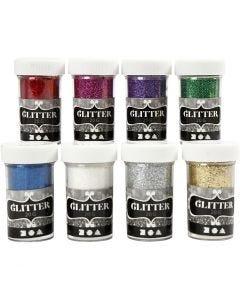 Glitter, ass. farger, 8x20 g/ 1 pk.