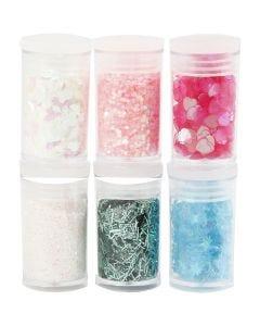 Glitter og paljetter, pastellfarger, 6x5 g/ 1 pk.