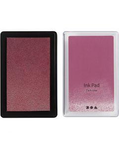 Stempelpute, H: 2 cm, str. 9x6 cm, mørk rosa, 1 stk.