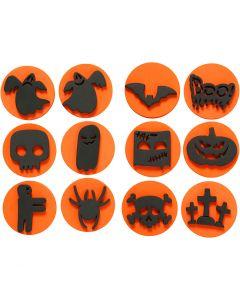 Skumstempler, halloween, dia. 7,5 cm, tykkelse 2,5 cm, 6 stk./ 1 pk.