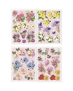 3D Motiver, blomster og sommerfugler, 21x30 cm, 4 ark/ 1 pk.