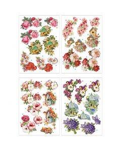 3D Motiver, blomster og fugler, 21x30 cm, 4 ark/ 1 pk.