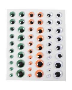 Rulleøyne, selvklebende, dia. 6+8+10+12+15 mm, grønn, orange, hvit, 1 ark