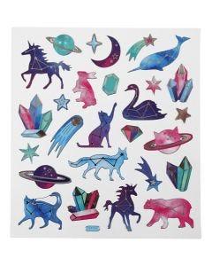 Stickers, dyr med stjernetegn, 15x16,5 cm, 1 ark