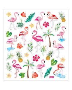 Stickers, flamingo, 15x16,5 cm, 1 ark
