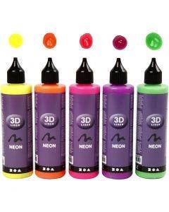3D Liner, neonfarger, 5x100 ml/ 1 pk.