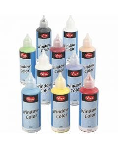 Window Color, ass. farger, 10x80 ml/ 1 pk.