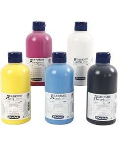 Schmincke AKADEMIE® Akryl farge, 5x500 ml/ 1 pk.