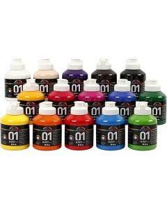 A-Color akrylmaling, nr. 01, blank, ass. farger, 15x500 ml/ 1 kasse
