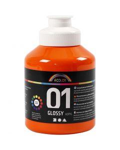 A-Color akrylmaling, nr. 01, blank, orange, 500 ml/ 1 fl.