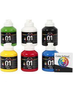 A-Color akrylmaling, blank, primær farger, 6x500 ml/ 1 pk.