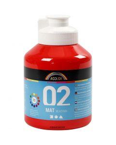 A-Color akrylmaling, nr. 02, matt, rød, 500 ml/ 1 fl.