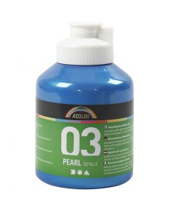 A-Color akrylmaling, nr. 03, metallisk, blå, 500 ml/ 1 fl.
