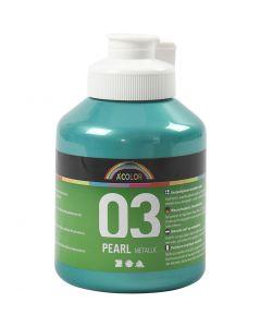 A-Color akrylmaling, nr. 03, metallisk, grønn, 500 ml/ 1 fl.