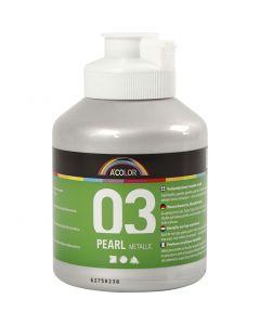 A-Color akrylmaling, metallisk, sølv, 500 ml/ 1 fl.