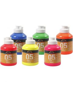 A-Color akrylmaling, nr. 05, neonfarger, 6x500 ml/ 1 kasse
