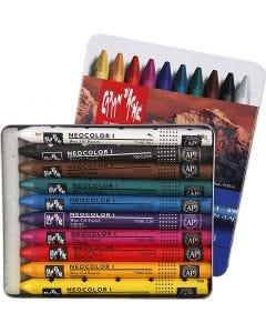 Neocolor I, L: 10 cm, tykkelse 8 mm, ass. farger, 10 stk./ 1 pk.