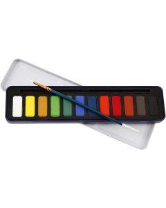 Akvarellfarge, str. 12x30 mm, 12 farge/ 1 pk.