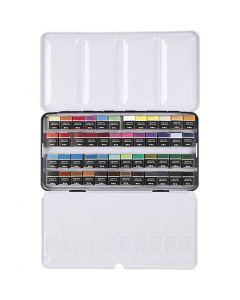 Art Aqua akvarellfarger, ½-pan, str. 10x20 mm, ass. farger, 48 farge/ 1 pk.