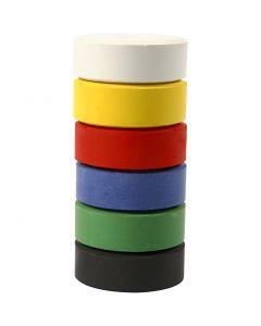 Vannfarge, H: 16 mm, dia. 44 mm, primær farger, 6 stk./ 1 pk.