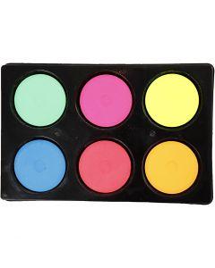 Vannfarge, H: 16 mm, dia. 44 mm, neonfarger, 1 sett