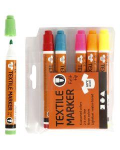 Tekstiltusj, strek 2-4 mm, neonfarger, 6 stk./ 1 pk.