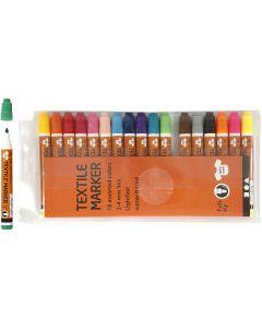 Tekstiltusj, strek 2-4 mm, ass. farger, 18 stk./ 1 pk.
