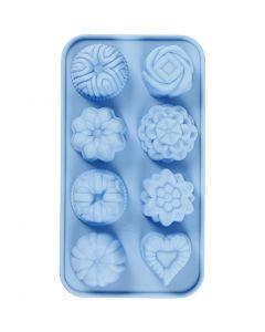 Silikonformer, små sandkaker, hullstr. 40x45 mm, 25 ml, lys blå, 1 stk.
