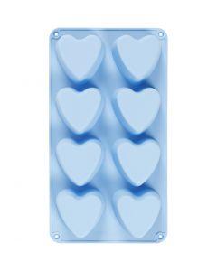 Silikonformer, hjerter, H: 3,5 cm, L: 35 cm, B: 21 cm, hullstr. 70x60 mm, 100 ml, lys blå, 1 stk.