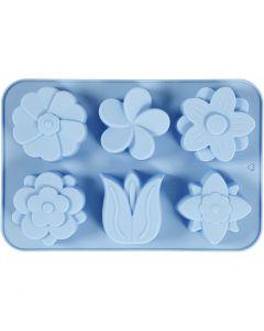 Silikonformer, blomster, H: 2,6 cm, L: 30 cm, B: 21 cm, hullstr. 60x75 mm, 75 ml, lys blå, 1 stk.